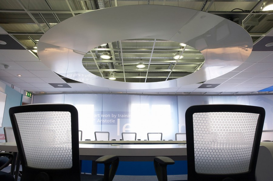 O2 Training Centre - integration of brand icons into the space